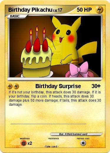 pokémon birthday pikachu    birthday surprise  my pokemon card, Birthday card