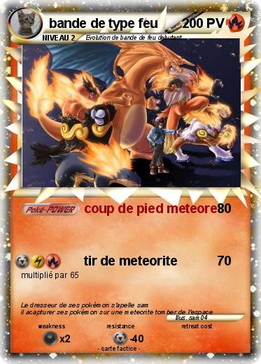 Pok mon bande de type feu coup de pied meteore ma - Coloriage pokemon feu ...