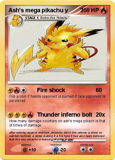 Pokémon Ash S Mega Pikachu Y Fire Shock My Pokemon Card