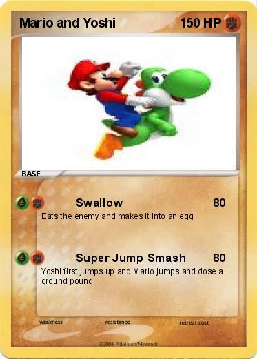 pokémon mario and yoshi - swallow - my pokemon card