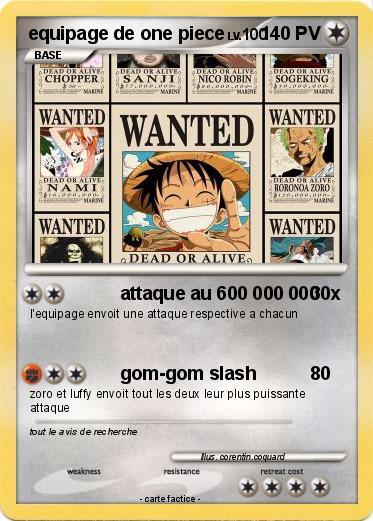 pokémon equipage de one piece attaque au 600 000 000 ma carte