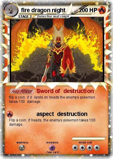 Pok mon fire dragon night sword of destruction my pokemon card - Carte pokemon dragon ...