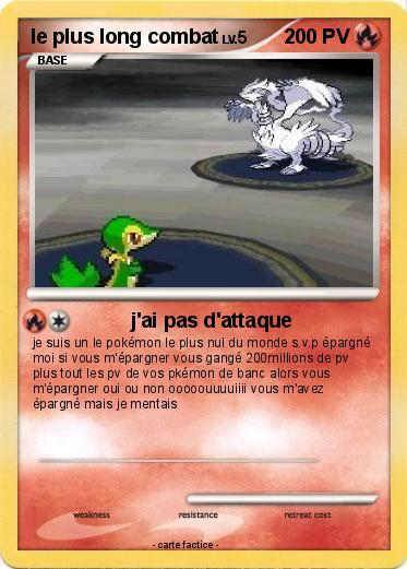 Pok mon le plus long combat j 39 ai pas d 39 attaque ma carte pok mon - Tout les carte pokemon ex du monde ...