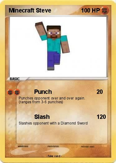 Pok 233 Mon Minecraft Steve 7 7 Punch My Pokemon Card