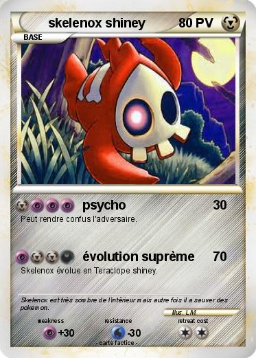 Pokémon Skelenox Shiney Psycho Ma Carte Pokémon