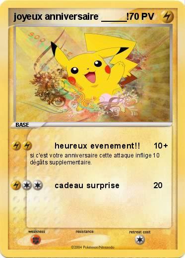Très Pokémon joyeux anniversaire - heureux evenement!! - Ma carte Pokémon JO29