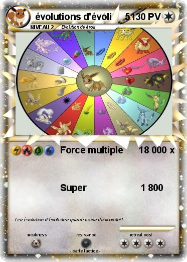 Pok mon evolutions d evoli 5 5 force multiple 18 000 x - Pokemon famille d evoli ...