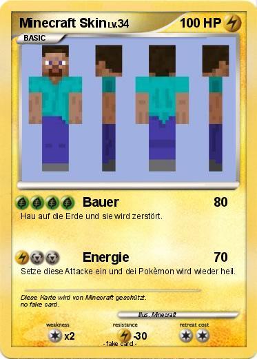Minecraft Karte.Pokémon Minecraft Skin Bauer My Pokemon Card