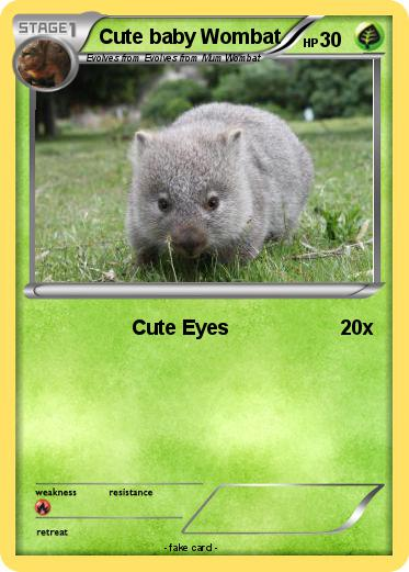 Pokémon Cute baby Wombat 1 1 - Cute Eyes - My Pokemon Card