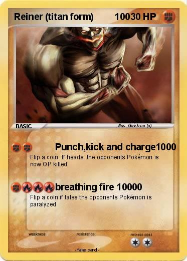 Pokémon Reiner titan form 100 100 - Punch,kick and charge1000 - My ...