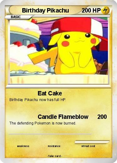 Pok 233 Mon Birthday Pikachu 18 18 Eat Cake My Pokemon Card