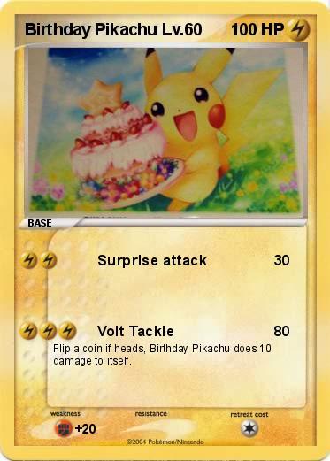 Pokmon Birthday Pikachu Lv 60 60 Surprise Attack My Pokemon Card