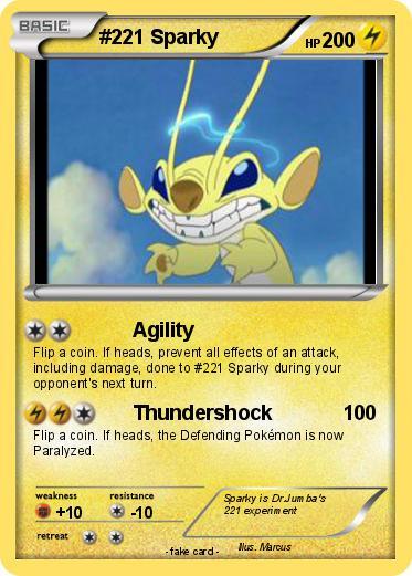 pokémon 221 sparky agility my pokemon card