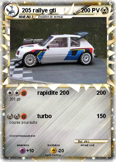 Pok mon 205 rallye gti rapidite 200 ma carte pok mon - Coloriage voiture de rallye ...