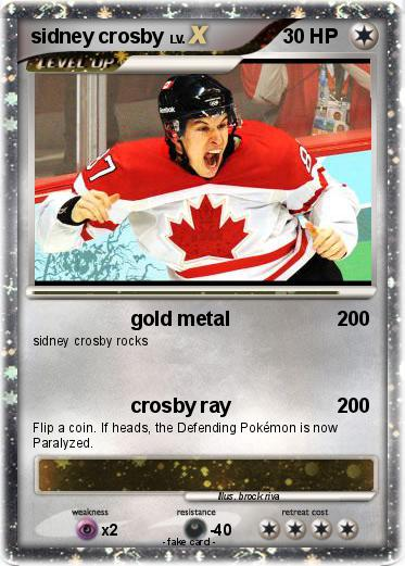 Pok mon sidney crosby 91 91 gold metal my pokemon card for Sidney crosby coloring pages
