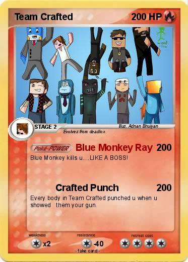pokémon team crafted 17 17 blue monkey ray my pokemon card
