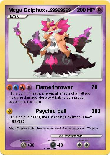 Pokémon Mega Delphox 16 16 - Flame thrower - My Pokemon Card