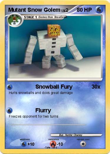 Pok 233 Mon Mutant Snow Golem 3 3 Snowball Fury My Pokemon