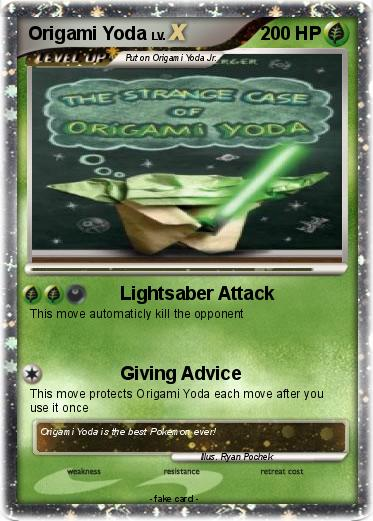 Pokmon Origami Yoda 9 9 Lightsaber Attack My Pokemon Card