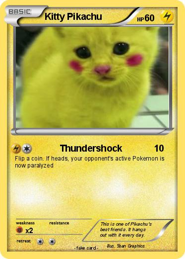 pokémon kitty pikachu 5 5 thundershock my pokemon card