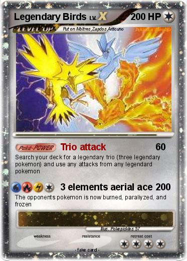 Pok 233 Mon Legendary Birds 45 45 Trio Attack My Pokemon Card