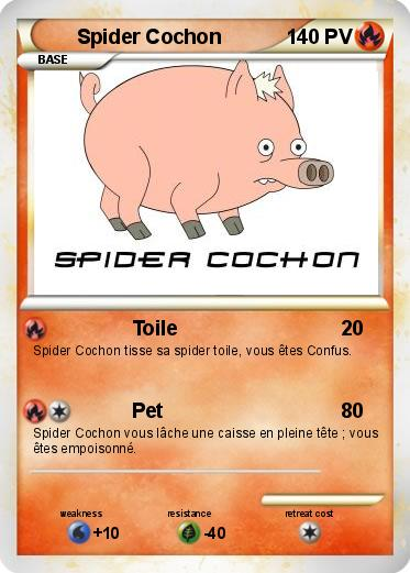 Pok mon spider cochon 31 31 toile ma carte pok mon - Cochon pokemon ...