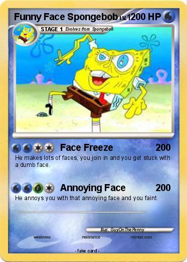pokémon funny face spongebob face freeze my pokemon card