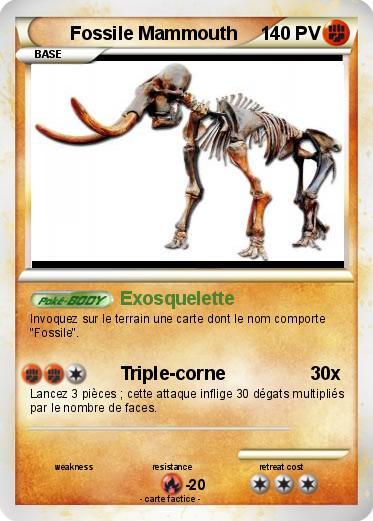 pok mon fossile mammouth exosquelette ma carte pok mon. Black Bedroom Furniture Sets. Home Design Ideas
