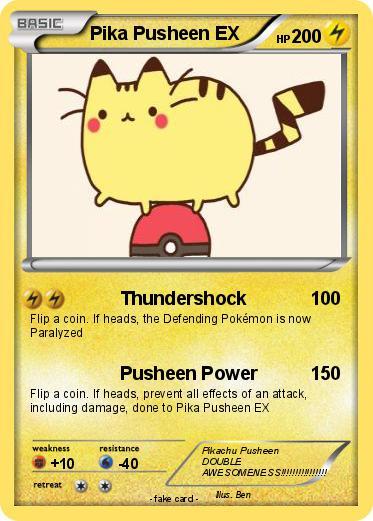 Pok mon Pika Pusheen EX Thundershock