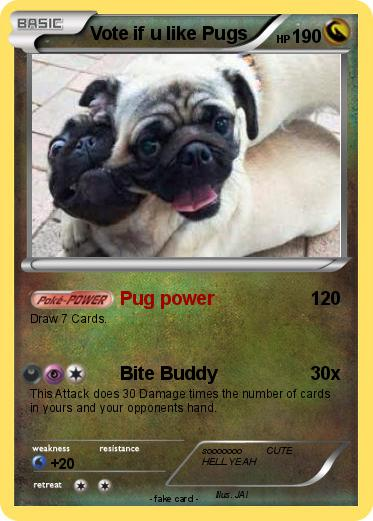 Pokémon Vote If U Like Pugs Pug Power My Pokemon Card