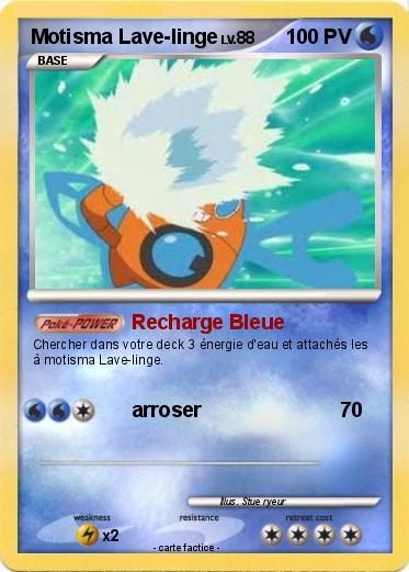 Carte Bleue Lave Linge.Pokemon Motisma Lave Linge 2 2 Recharge Bleue Ma Carte Pokemon