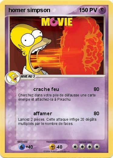 Pok mon homer simpson 107 107 crache feu ma carte pok mon - Comment faire bart simpson ...