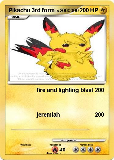 Pokémon Pikachu 3rd form - fire and lighting blast - My Pokemon Card