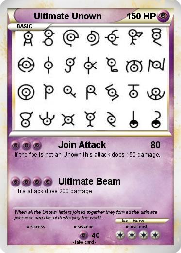 Pokémon Ultimate Unown Join Attack My Pokemon Card