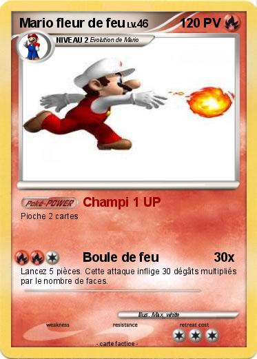 Pokemon Mario Fleur De Feu 2 2 Champi 1 Up Ma Carte Pokemon