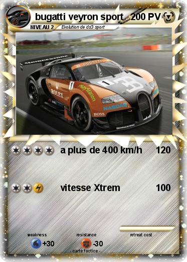Pok mon bugatti veyron sport 2 2 a plus de 400 km h ma carte pok mon - Coloriage de bugatti ...