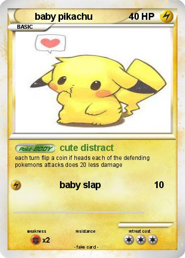 Pokémon Baby Pikachu 119 119 Cute Distract My Pokemon Card