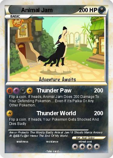 Pok 233 Mon Animal Jam 10 10 Thunder Paw My Pokemon Card