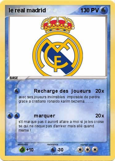 Pokemon Le Real Madrid Recharge Des Joueurs Ma Carte Pokemon