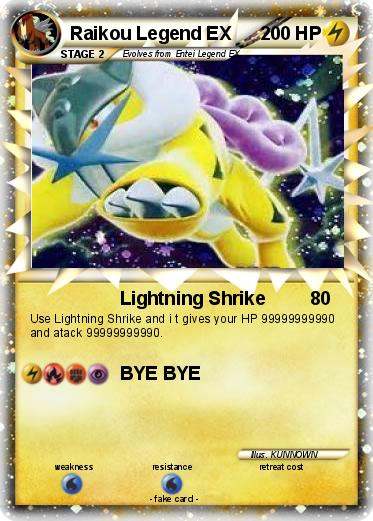Pok 233 Mon Raikou Legend Ex Lightning Shrike My Pokemon Card