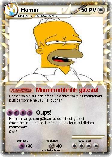 Exceptionnel Pokémon Homer 1847 1847 - Mmmmmhhhhh gâteau! - Ma carte Pokémon HZ32