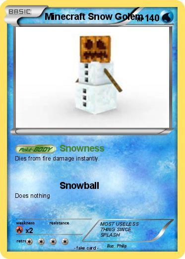 Pokémon Minecraft Snow Golem - Snowness - My Pokemon Card