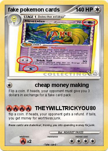 pokémon fake pokemon cards cheap money making my pokemon card