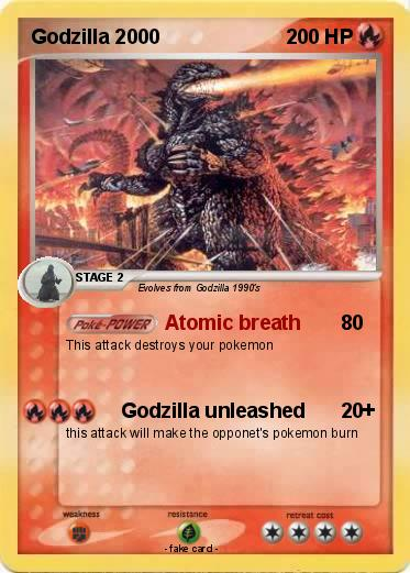 Pok 233 Mon Godzilla 2000 13 13 Atomic Breath My Pokemon Card