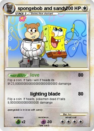 pokémon spongebob and sandy love my pokemon card