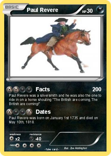 Pokémon Paul Revere 25 25 - Facts - My Pokemon Card