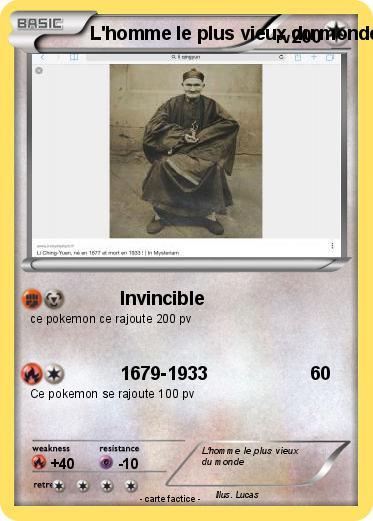 Pokémon L homme le plus vieux du monde - Invincible - Ma carte Pokémon