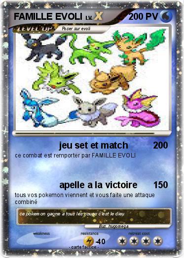 Pok mon famille evoli 39 39 jeu set et match ma carte pok mon - Famille evoli pokemon ...
