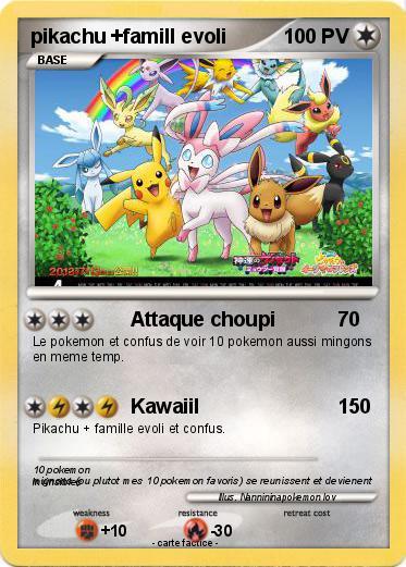 Pok mon pikachu famill evoli attaque choupi ma carte pok mon - Famille evoli pokemon ...