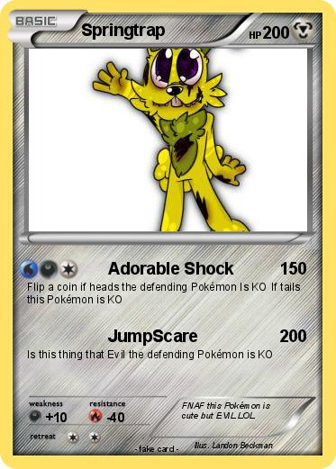 pokémon springtrap 617 617 adorable shock my pokemon card